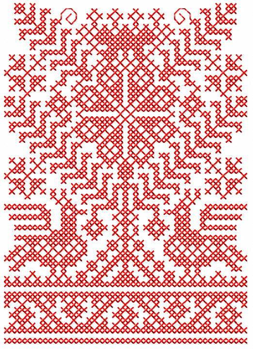 Ethnic redwork pattern free embroidery design