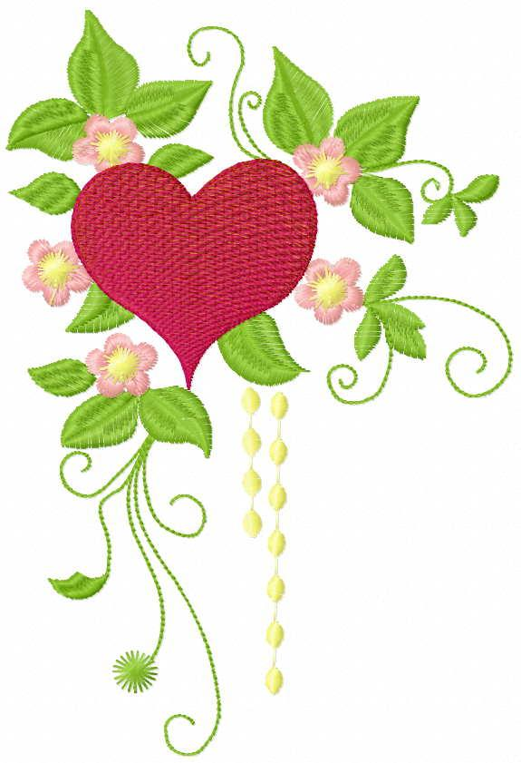Red heart and flowers free embroidery design
