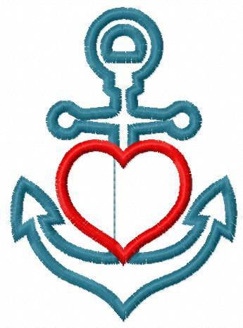 Anchor applique free embroidery design