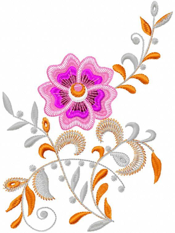 Flower orange and gray free embroidery design