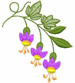 Fuchsia branch free embroidery design