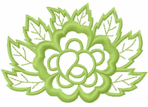 Green flower free embroidery design