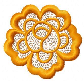 Orange flower free embroidery design