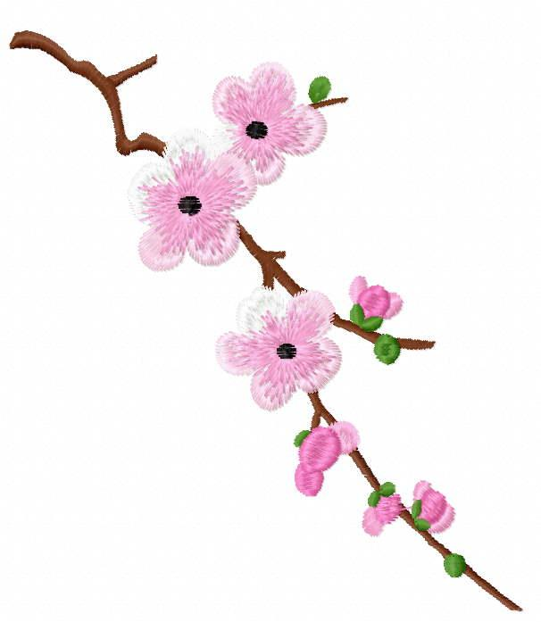 Sakura branch free embroidery design