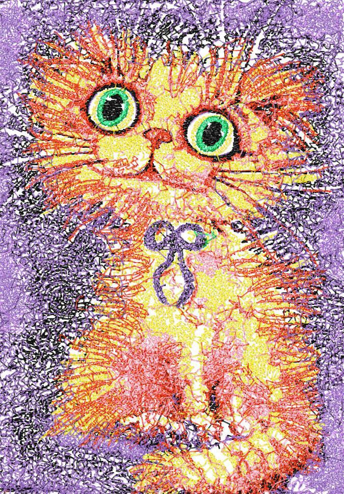 Bright kitten photo stitch free embroidery design