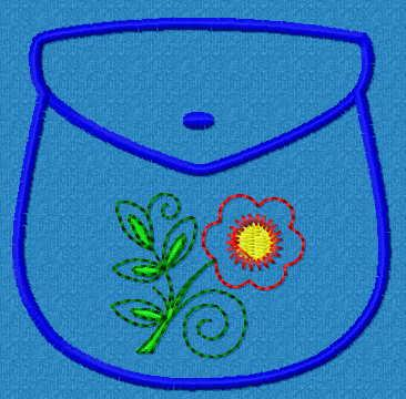 Pocket with flower free embroidery design