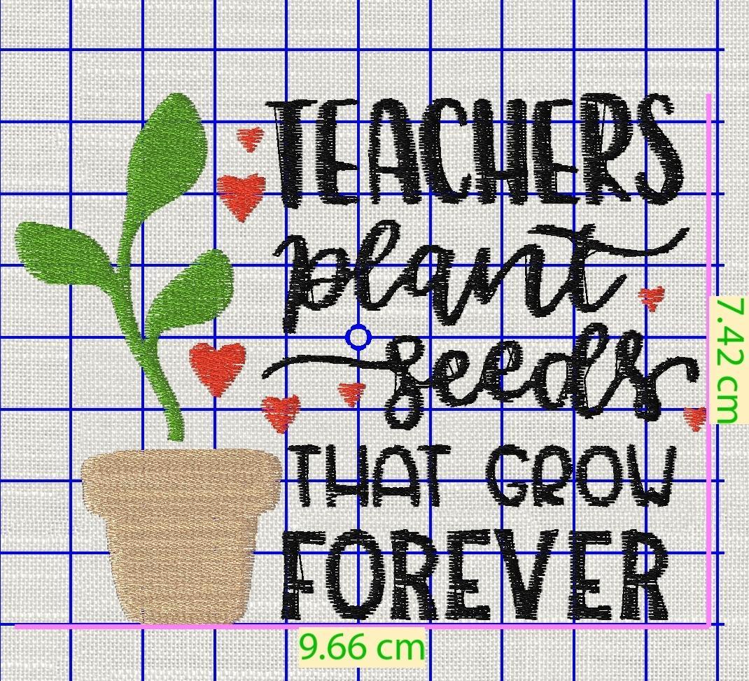 Teacher's quote free embroidery design