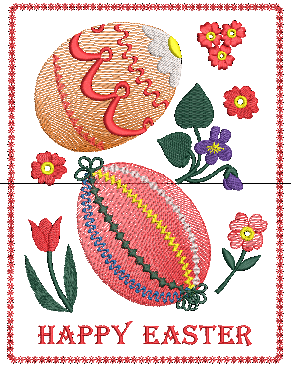 Easter Eggs and Flowers in a border free embroidery design