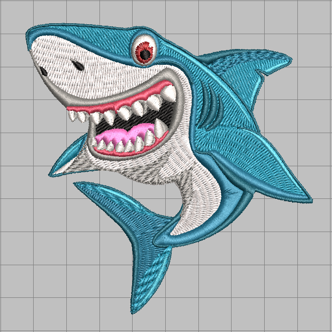 Smiling Shark free embroidery design 2