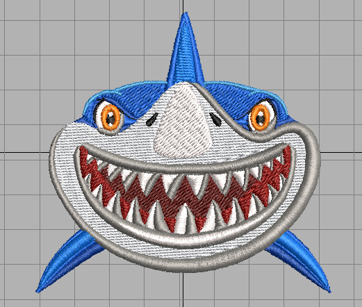 Shark with Big Smile free embroidery design