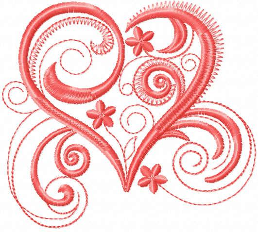 Pink heart free embroidery design