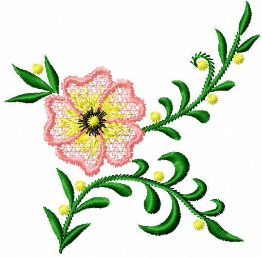 Pink stylish flower free embroidery design