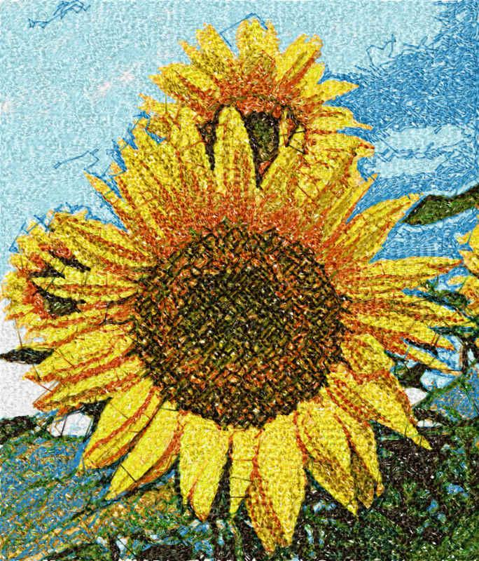 Sunflowers free embroidery design