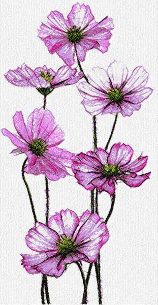 Violet free embroidery design