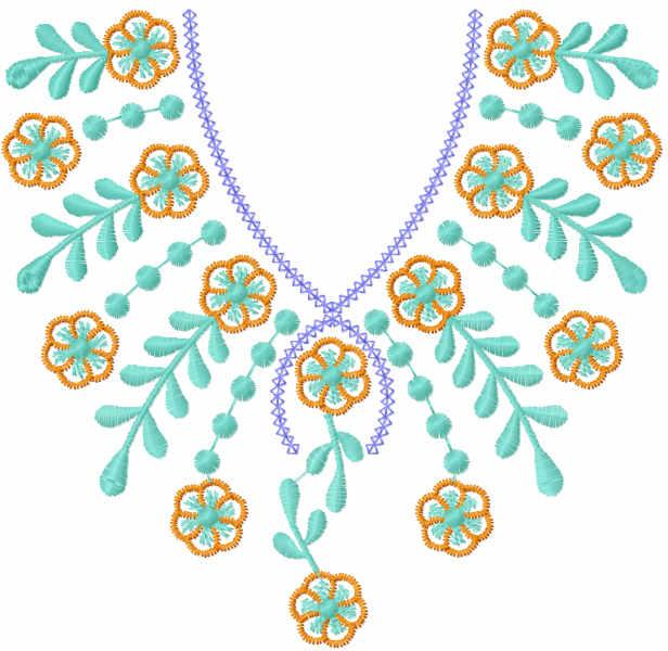 Flower collar decoration free embroidery design