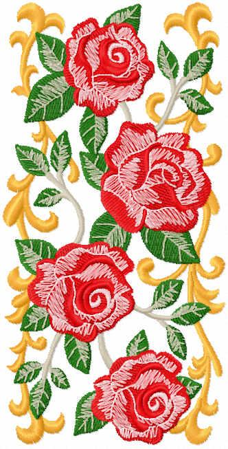 Roses panel free embroidery design