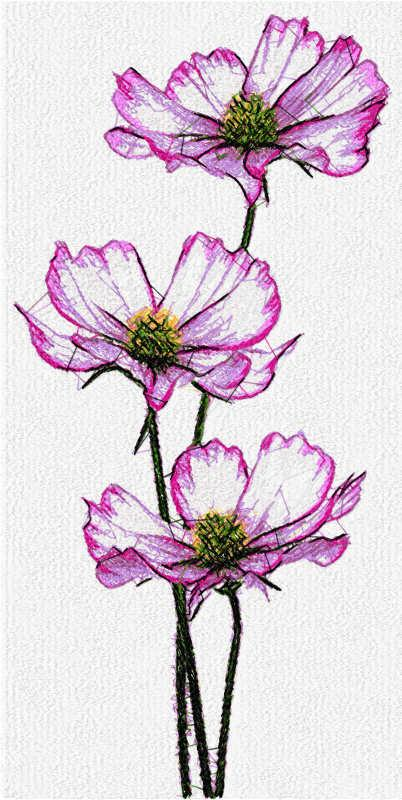 Violet flowers free embroidery design 2