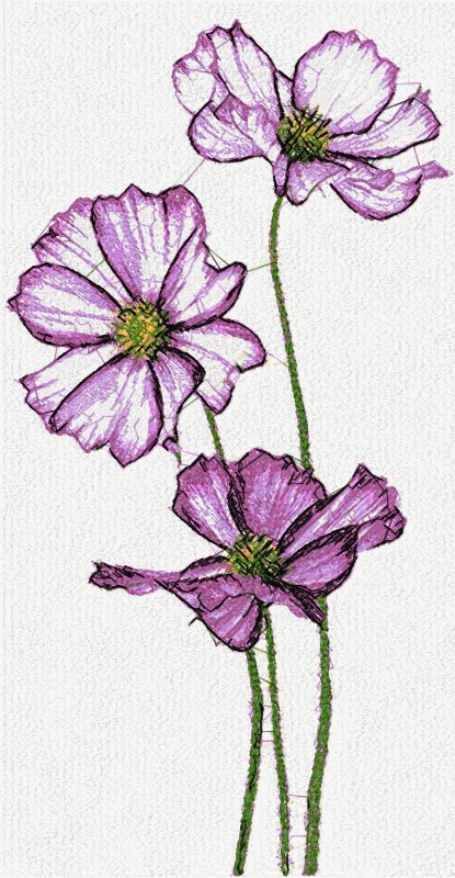 Violet flowers free embroidery design 3