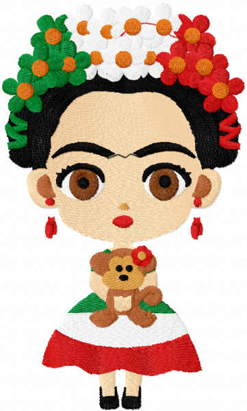 Frida mexicana free embroidery design