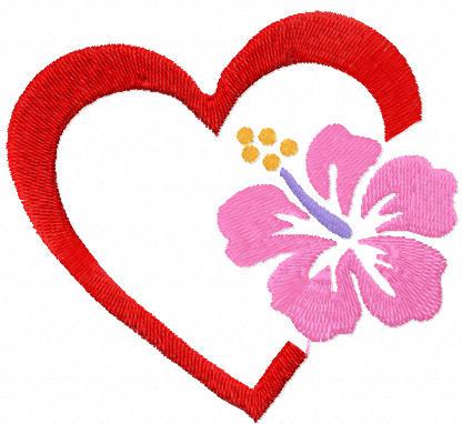Heart with flower free embroidery design