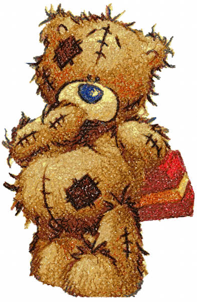 Teddy bear with gift box photo stitch free embroidery design