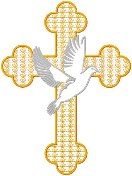 Cross and dove free embroidery design