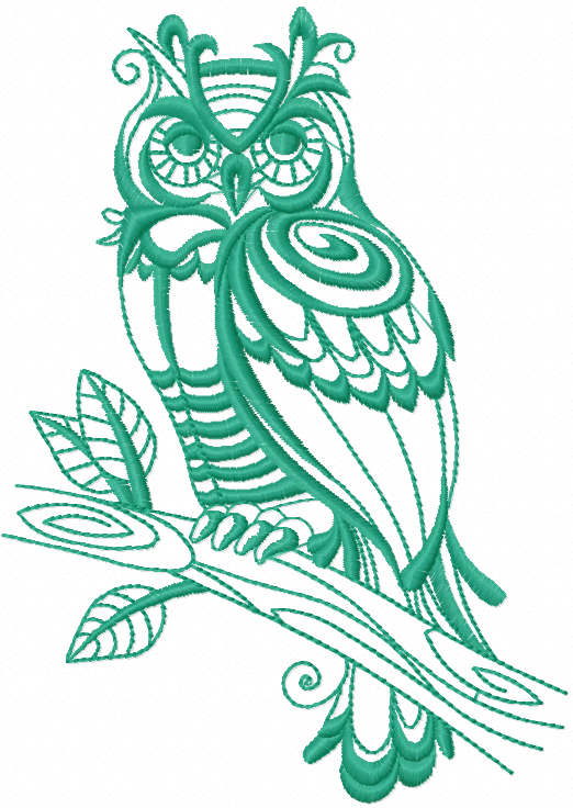 Owl one colored free embroidery design
