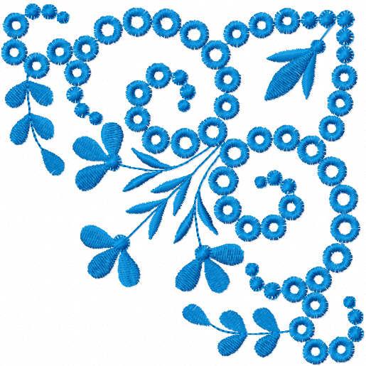 Blue corner free embroidery design