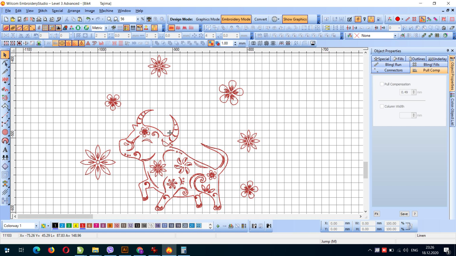 Bull 24 x 20 cm free embroidery design