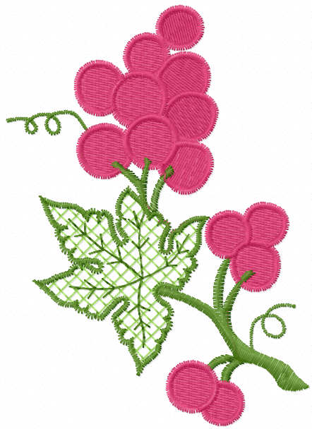 Bunch of grapes free embroidery design