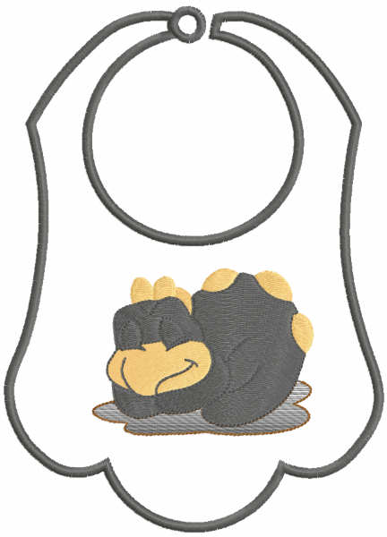 Baby bibs with sleeping turkey free embroidery design