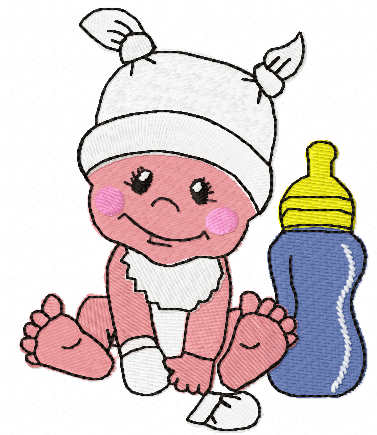 Babyboy with bottle milk free embroidery design