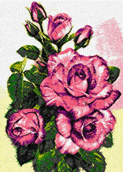 Fresh roses from garden photostitch free embroidery design