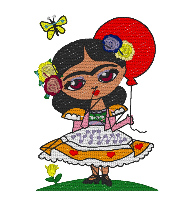 Frida with balloon free embroidery design