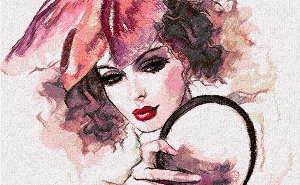 Woman water color photo stitch free embroidery design