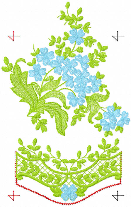 Bouquet with festoon free embroidery design