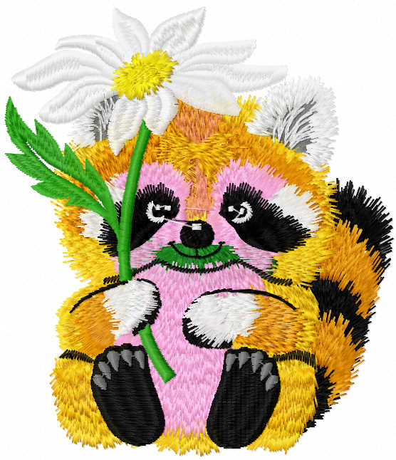 Raccoon with flower free embroidery design