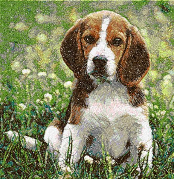Beagle in garden free embroidery design