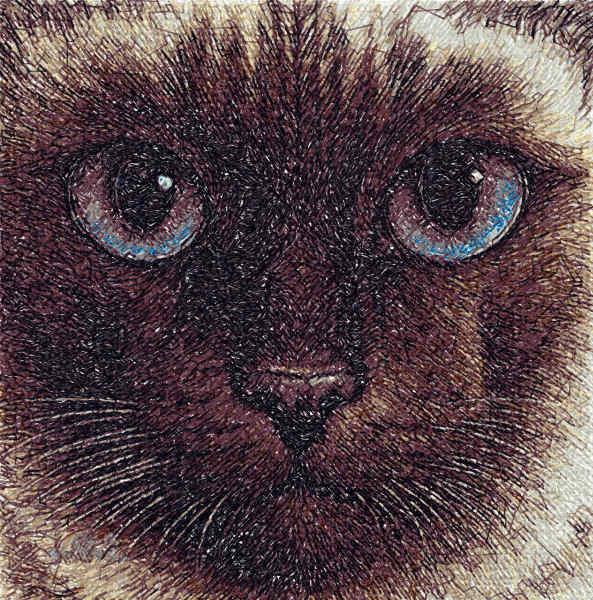Siamese cat free embroidery design