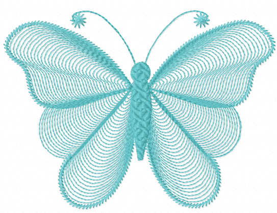 Spiral butterfly free embroidery design