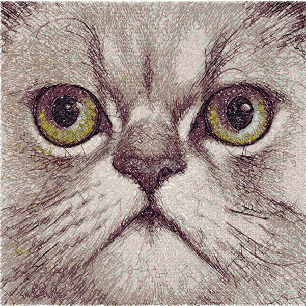 Grey cat free embroidery design