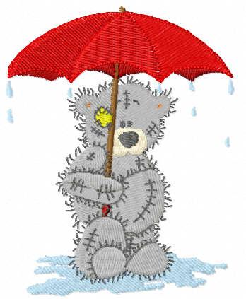 Teddy bear under rain free embroidery design