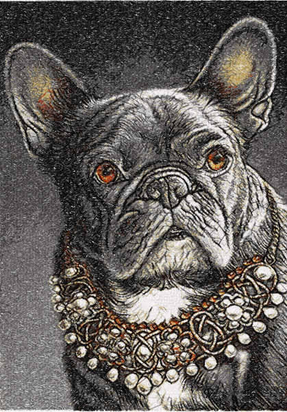 French bulldog with jewerly free embroidery design