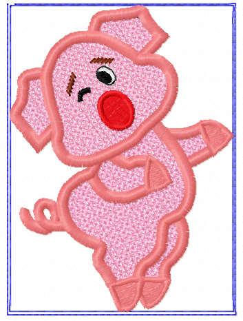 Pig applique free embroidery design