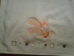 Embroidered towel with Goldfish free design