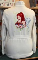 Woman sweater with Fairy embroidery design