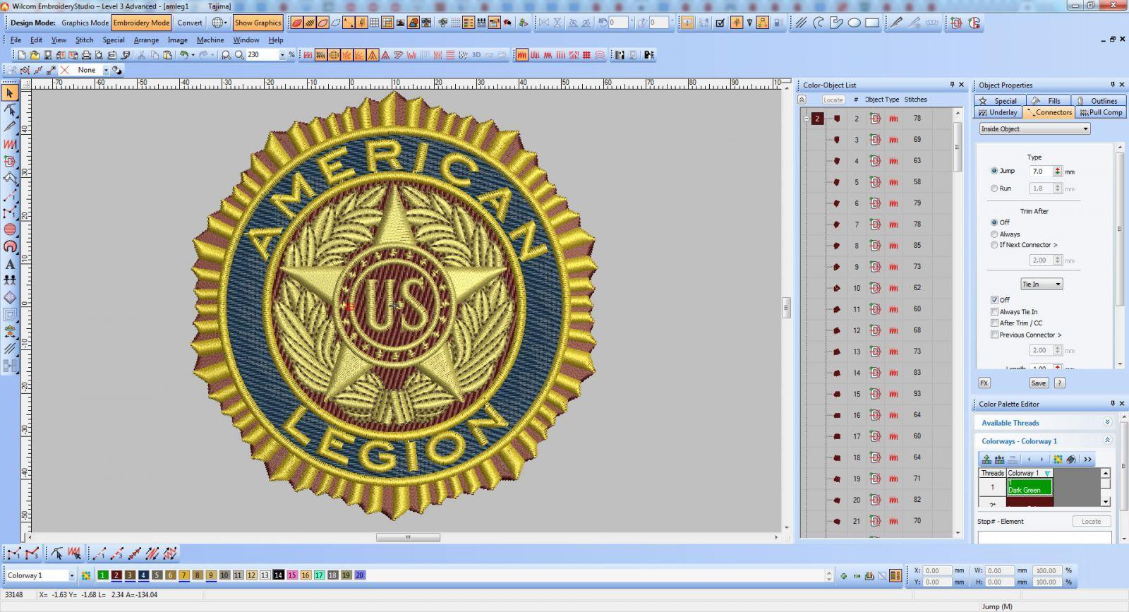 Software screenshot American Legion logo embroidery design