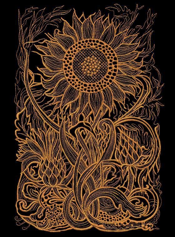 Sunflower embroidered free design