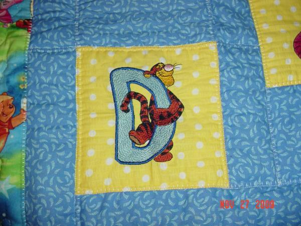 Tigger letter D free design embroidered quilt