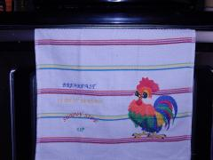 Towel with free rooster embroidery design